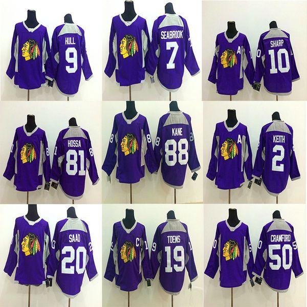 Camiseta de entrenamiento Chicago Blackhawks Purple 88 Patrick Kane 19 Jonathan Toews 2 Keith 50 Crawford Hockey Jerseys