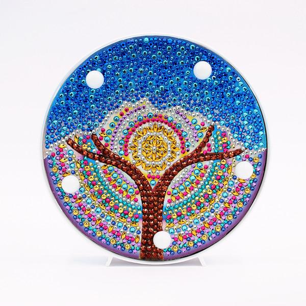 ZOOYA Дети Мультфильм синий дерево LED Алмазные Картина поделки ручной работы Алмазный Декор Вышивка Краска с рамкой Алмазный живописи День рождения Подарки