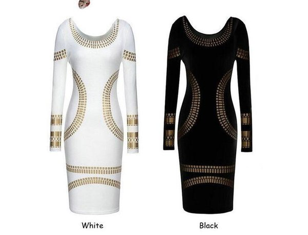 Wholesale Summer Casual Women Sexy Black/White Print Dress Slim Long Sleeve Dress Lady Backless Skirt Scoop Neck Pencil Dress Free Shipping