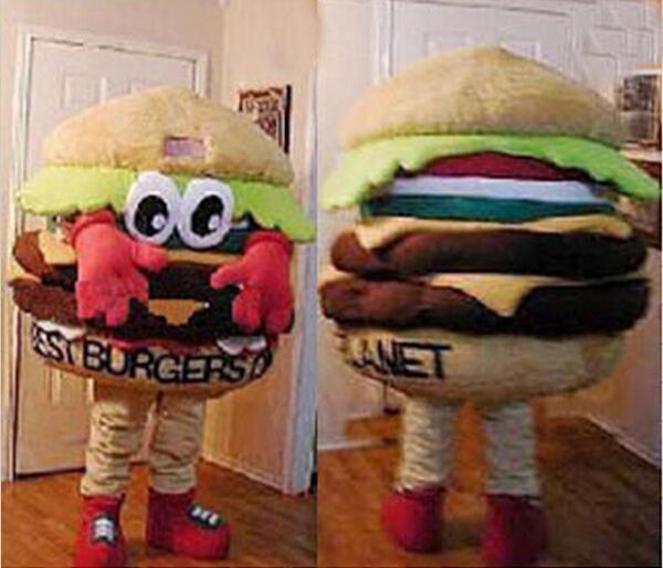 1 de junho presente do dia das crianças MELHOR BURGERS NO PLANETA, HAMBURGER Mascot Costume Fancy Dress Costume!