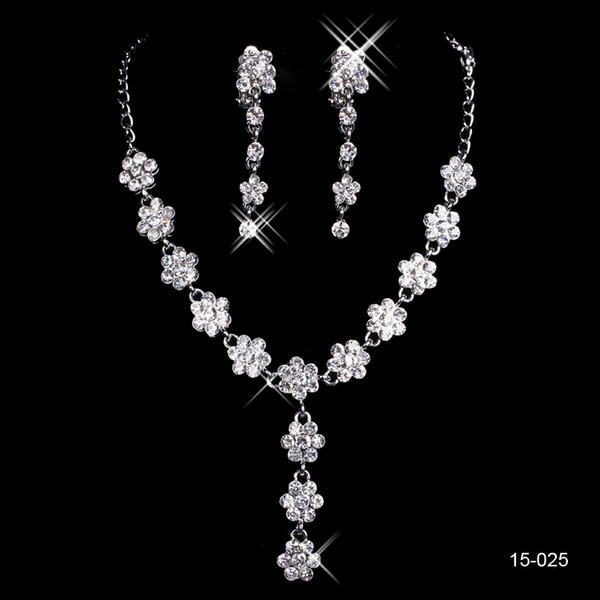 2019 New Jewelry Necklace Earring Set Cheap Wedding Bridal Prom Cocktail Evening Dresses Rhinestone In Stock Free Shipping 15025