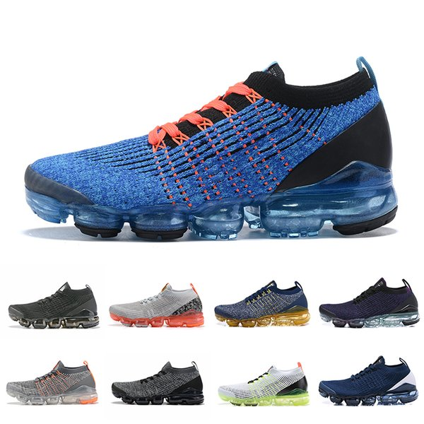 new arrival b6387 e68dc 2019 2019 NikeAirVapormaxFlyknit3.0 Men 3.0 Women Running Shoes Air Cushion  Rainbow Triple Black White Mens Trainers Sneakers From ...