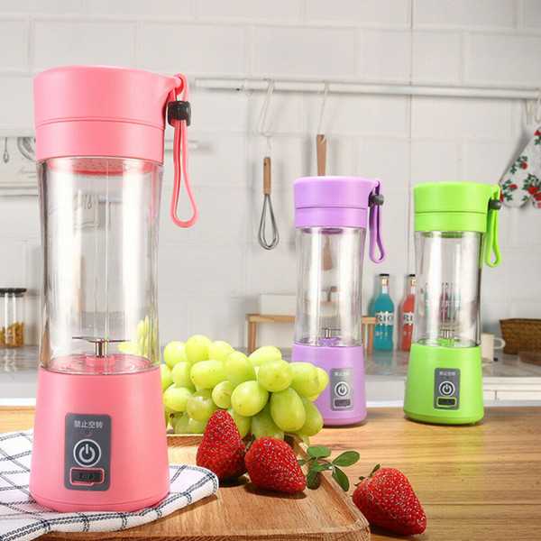 top popular 2020 Hot 380ml Multi-Function Electric Mini Juicer USB Rechargeable Portable Fruits Vegetable Squeezer Mixer Blander with 6 Vanes Blades 2020