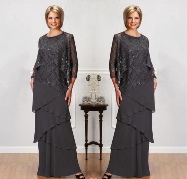 Gri Dantel Anne Gelin Elbise Ile Uzun Kollu Ceketler Jewel Boyun Payetli Abiye giyim Kat Uzunluk Düğün Elbiseleri