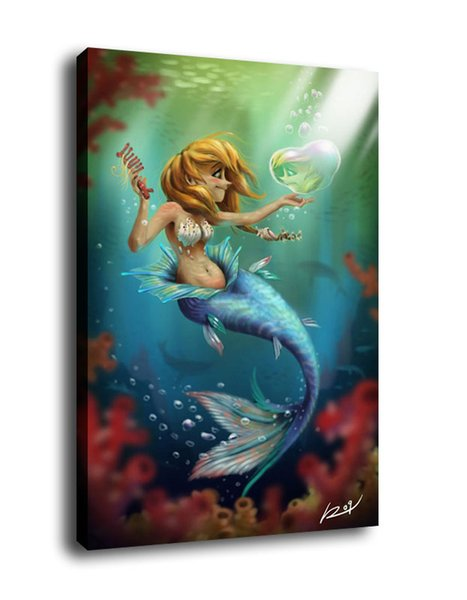 Fantasy Art The Little Mermaid,Oil Painting Reproduction High Quality Giclee Print on Canvas Modern Home Art Decor1886