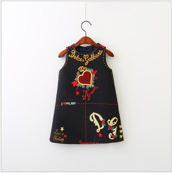 Nueva venta caliente de las niñas princesa vestido linda niña elegante floral vestidos estampados sin mangas del chaleco falda de la ropa de la muchacha 90-140 cm por menor