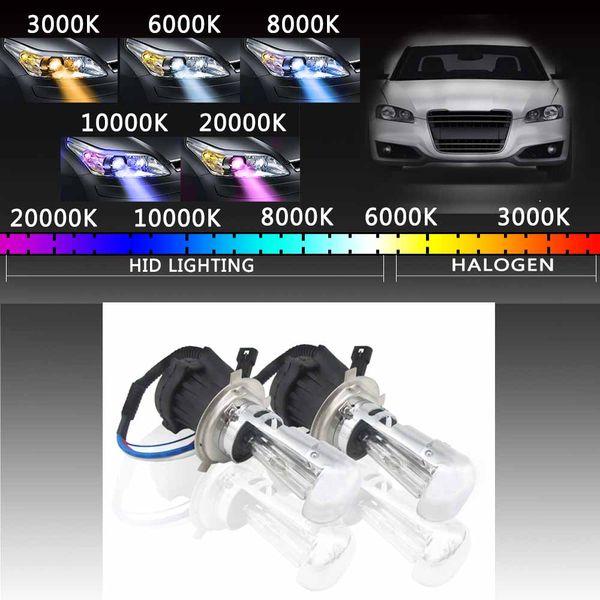 2pcs H4 Xenon HID Headlight Light Bulbs With Ballasts 6000K/8000K/10000K/12000K Conversion Kit Car Auto 55W Xenon Light