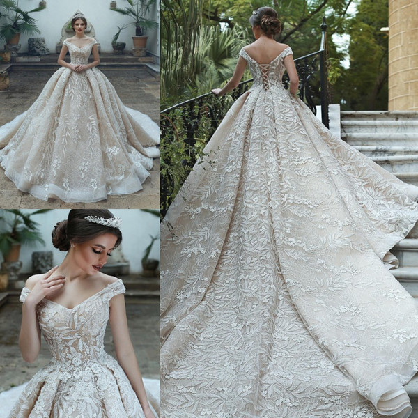 Discount New Arrival Ball Gown Wedding Dresses 2019 Sparkly Champagne Off Shoulder Tulle Bridal Gowns Custom Made Wedding Dresses Under 1000 Wedding