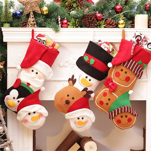 Christmas Stockings Adornos De Navidad Gift Boots Christmas Decorations Xmas Candy Hanging Bag Gift Decoracion Navidad