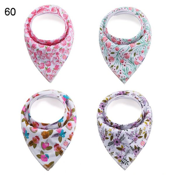 4Pcs/SEt Baby triangle towel cotton double-layer saliva towel bib Baby Boy Girls Saliva Towel Bandana Bibs Dribble Triangle Kids Head Scarf