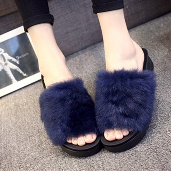 Women Flips Flops 2018 Winter Warm Fur Shoes Woman Slippers Fashion Platform Female Slides Shoes Woman Flat Slippers Women Size8