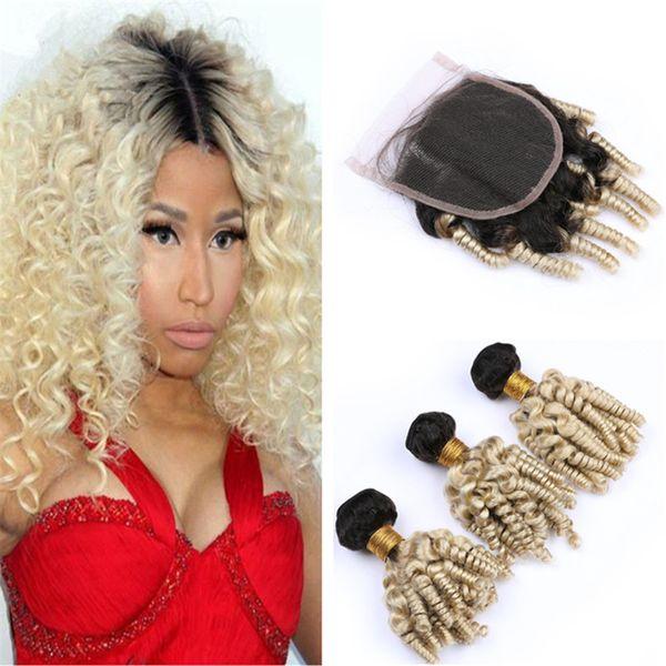 Dark Roots 1B/613 Blonde Ombre Funmi Human Hair Bundles with Lace Closure Black and Blonde Bouncy Romance Curls Virgin Hair Closure