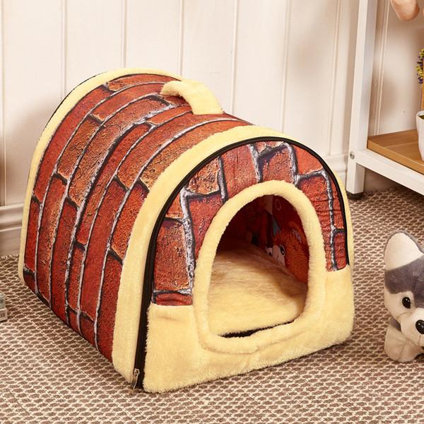 Alfombrilla para perros Casa de mascotas de doble uso Cama nido Jaula para perros Cachorros Perrera al aire libre Felpa interior Sofá suave Gatos Perros grandes Camas Suministros