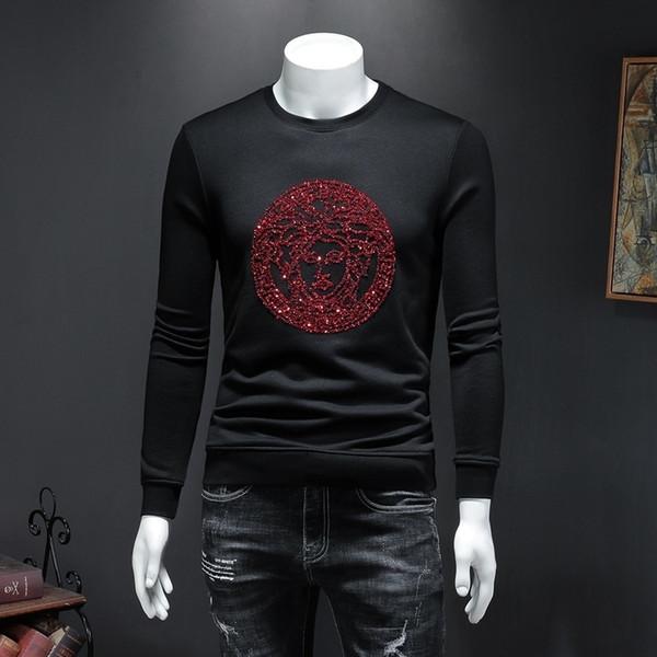 Vêtements pour hommes 2019 Automne Homme T-shirts Belle broderie et manches longues Pull exquis pour les hommes épaississent et confortable