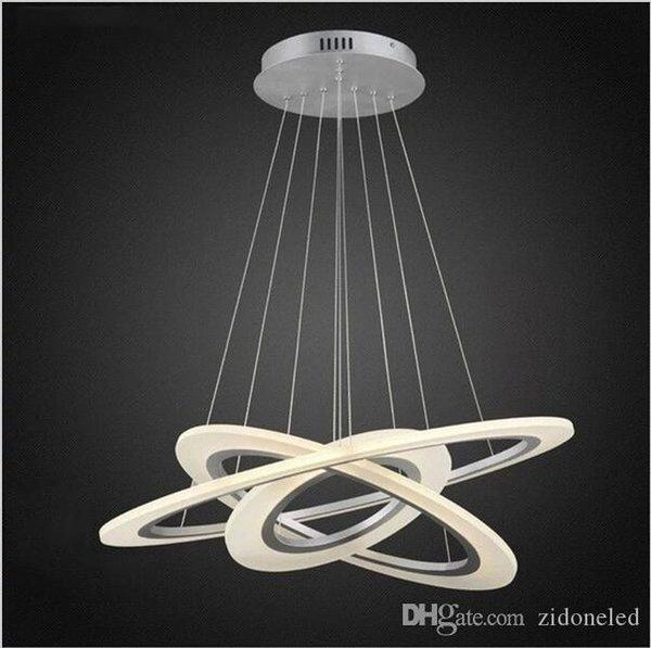 Modern Acrylic LED Pendant Light 3 Circle Suspension Chandeliers Lighting for Living Room Dining Room Bedroom
