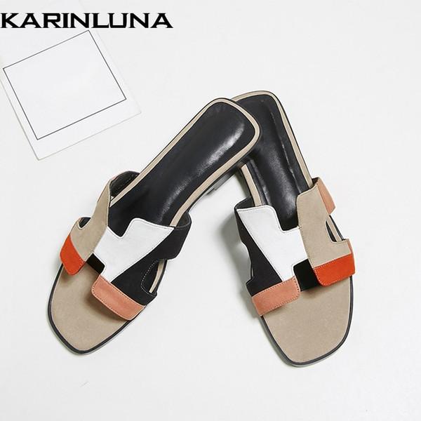 Karinluna 2019 diseño de marca dropship zapatillas de piel de oveja de cuero genuino zapatos de mujer colores mezclados planos zapatos de mujer diapositivas de verano