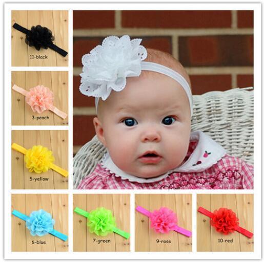 11 color Wholsale Fashion Openwork lado ondulado gasa cabeza flor con banda elástica para niños accesorios para el cabello