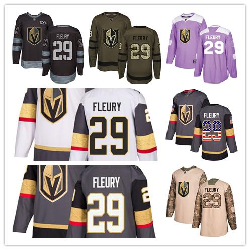 Vegas Golden Knights jerseys #29 Marc-Andre Fleury jersey hockey men women gray white black Authentic winter classic Stiched gears Jersey