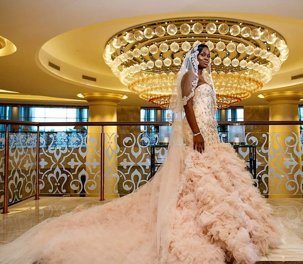 2020 african nigeria mermaid wedding dresses crystal beaded tiered ruffles court train plus size formal bridal gowns vestidos de novia