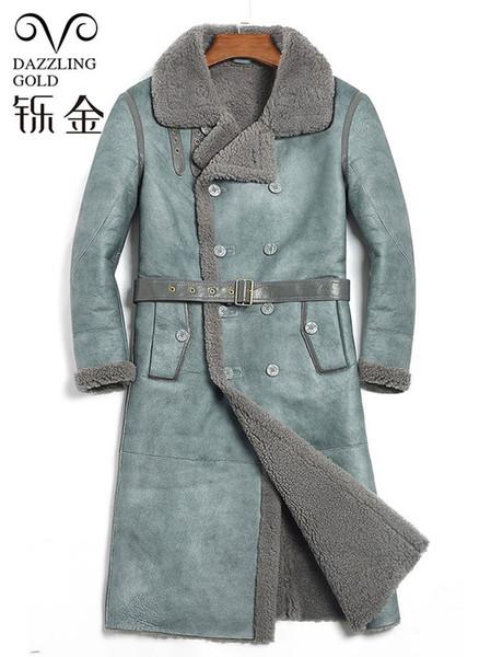 100% genuine leather men long coat shearling true sheepskin men jacket real sheep fur coat for high quality winter