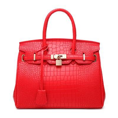 Crocodile pattern platinum bag female 2019 fashion single shoulder slant slant hand wedding bag bride wrap red
