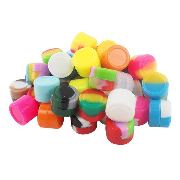STOCK a Los Angeles USA SPEDIZIONE IMMEDIATA! 100 pz / lotto 2 ml Multi colori silicone cera vaso contenitori di olio di silicone per cera