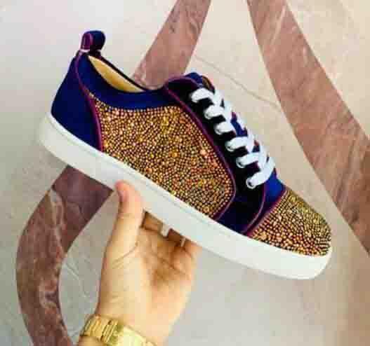 Meilleure Qualité Sneakers Chaussures Violet Velvet Avec Strass Cristaux Junior Hommes Femmes High Top Trainers Casual Walking Flats 35-46