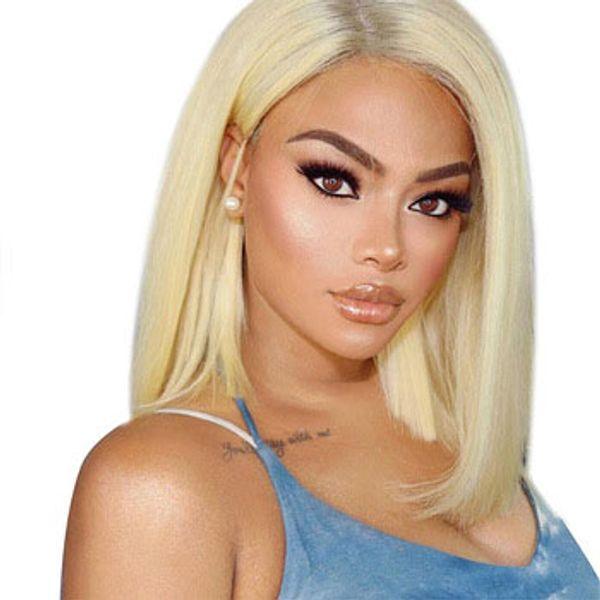 XBL SAÇ Düz Kısa Bob Peruk Perulu Remy Saç Dantel Ön İnsan Saç Peruk Kadınlar Için Afro-amerikan Doğal renk