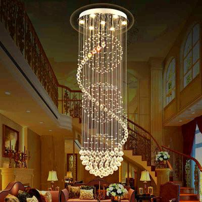 Spiral Crystal Large LED bulbs Ceiling Lights Lead Long Big Ceiling lamp Fixture New Modern home lighting art hotel lamps E057