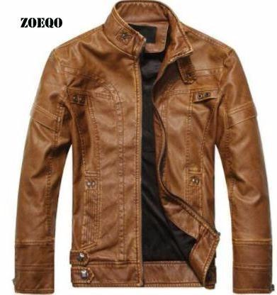 dropshipping NEW top quality Leather Jacket Men de masculina mens leather jacket and Coat Motorcycle Jacket