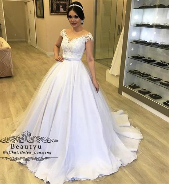 Ball Gown Wedding Dresses 2019 Capped Off Shoulder V Neck White Lace Satin Sweep Train Princess Bridal Gowns Custom Made Vestido De Noiva
