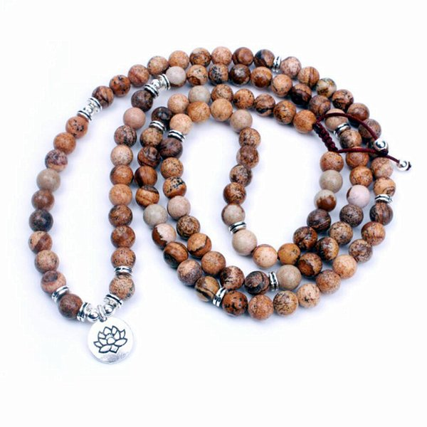 108 Natural stone beads and Ancient silver Charm Pendant necklace dropshipping yoga mala necklace meditation jewelry Handmade