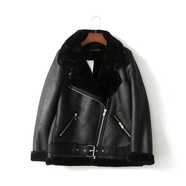 best selling Womens PU Leather Jacket Designer Jacket Winter Coats Luxury Women Jackt Inclined Zipper Faxu Fur Liner Coat