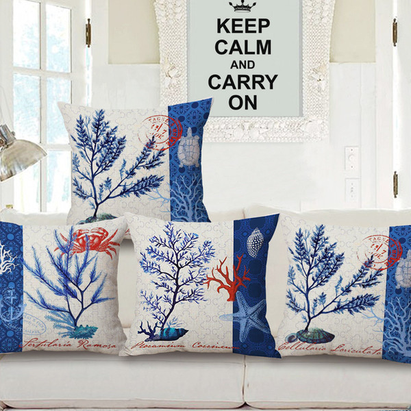New Pattern Marine Life Embrace Pillow Case Seaweed Cotton Cushion Heat Sell Fashion Coral Embrace Pillow Case Can Come Picture Customize