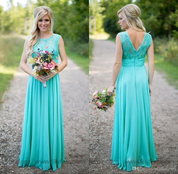 Cheap Turquoise Bridesmaids Dresses Sheer Jewel Neck Lace Top Chiffon Long Country Bridesmaid Maid of Honor Wedding Guest Dresses