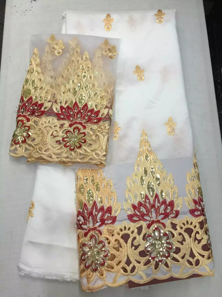 African Swiss Lace Fabric with Sequins and Stones 2018 White George Lace For Nigerian Hojilou Guipure Embroidery Lace Fabric