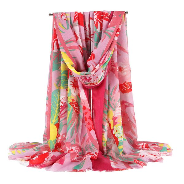 New women's spring and autumn big flowers wild flowers floral fashion women's scarf big flower print ladies scarf ladies shawl free shipping