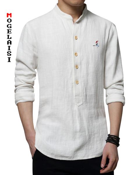 Naturalmente Uomo Camicia Blu Coreana Lino Eleganti Camicie