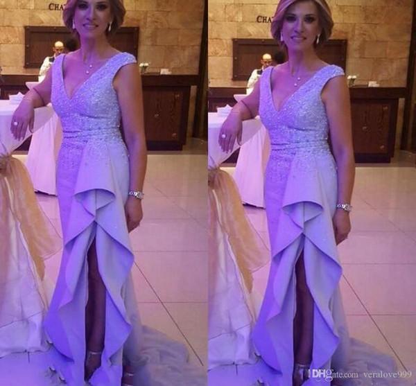 Sexy V Neck Mother Of Bride Dresses Sleeves Sweep Train Splits Ruffles Beaded Satin Evening Dresses Formal Women Wear