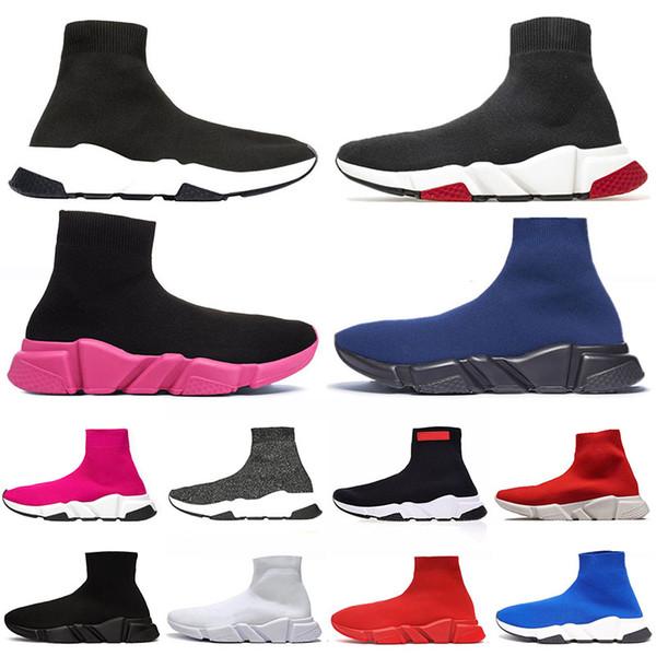 Ucuz hız eğitmeni beyaz kırmızı buttom lüks tasarımcı mens çorap ayakkabı Tripler Siyah eğitmenler Tam Kırmızı sneakers bayan pembe çorap rahat ayakkabı