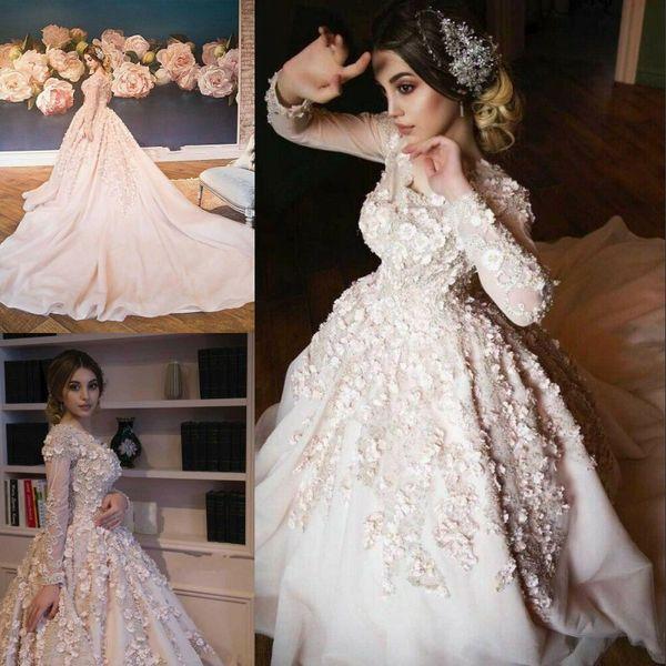 Modest Muslim 2020 Wedding Dresses Long Sleeve Lace 3D Floral Appliqued Vestido De Noiva Bridal Gowns Custom Made