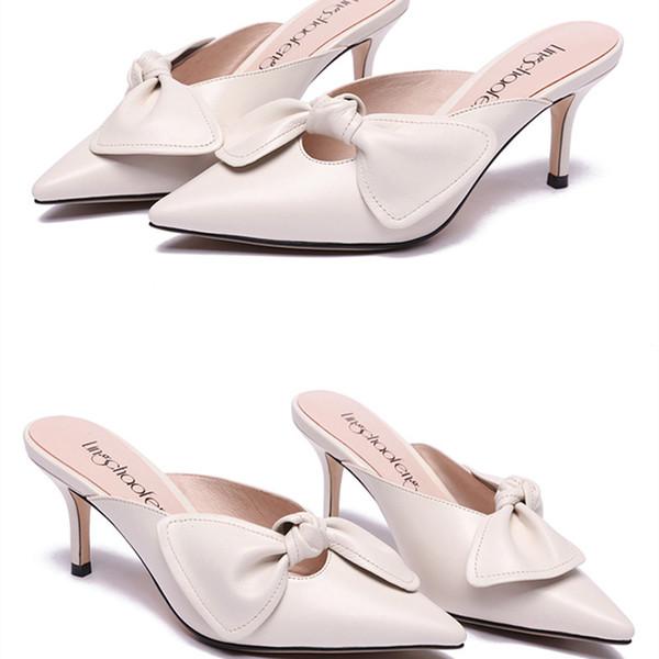 Mode Bowknot Sandalen Damen Sommer Niedrigen Ferse Schuhe Damen Outdoor Slides Casual Weißen Slipper