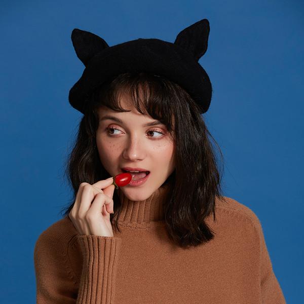 Cat orecchie del Donne Berretti fatto a mano in feltro di lana di lana nero Beret Handmade Hat regalo di Natale per la ragazza inverno caldo Beret 2019