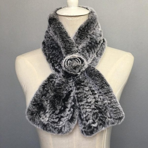 Free Shipping Cheap natural knitted Rabbit Fur Scarf For Women real fur Scarves Autumn And Winter Warm femme Ring collars