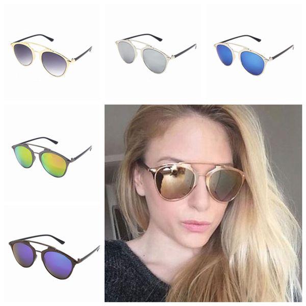 Espejo Gafas de sol con montura dorada Mujeres Moda Nuevo diseñador Gafas de sol Sun Shading Clásica Lady Cool Multicolor Eyeglass ZZA1085