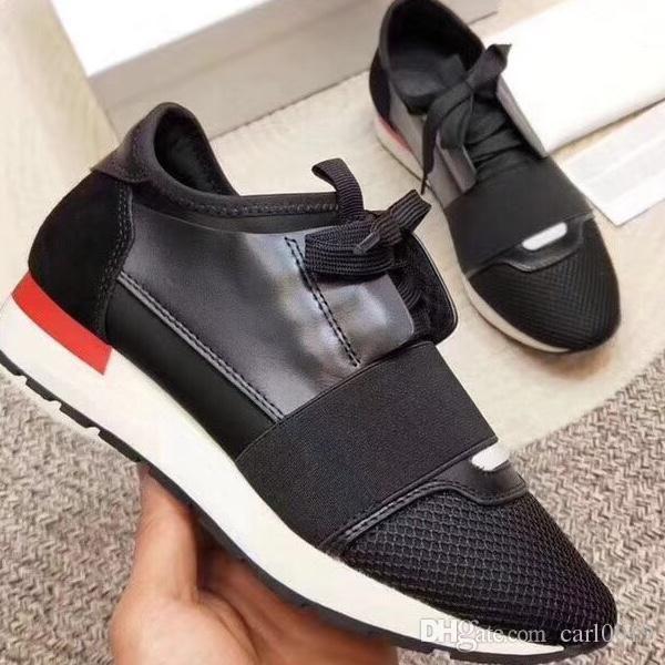 Mode Mann Frau Freizeitschuhe Luxus Designer Sneaker aus echtem Leder Mesh Spitz Race Runner Schuhe im Freien Trainer mit Box US5-12