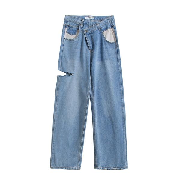 fall jeans women's denim wide leg pants Plus Size Casual Wide leg Jeans Autumn Women Fashion Loose denim Ankle-Length Pants
