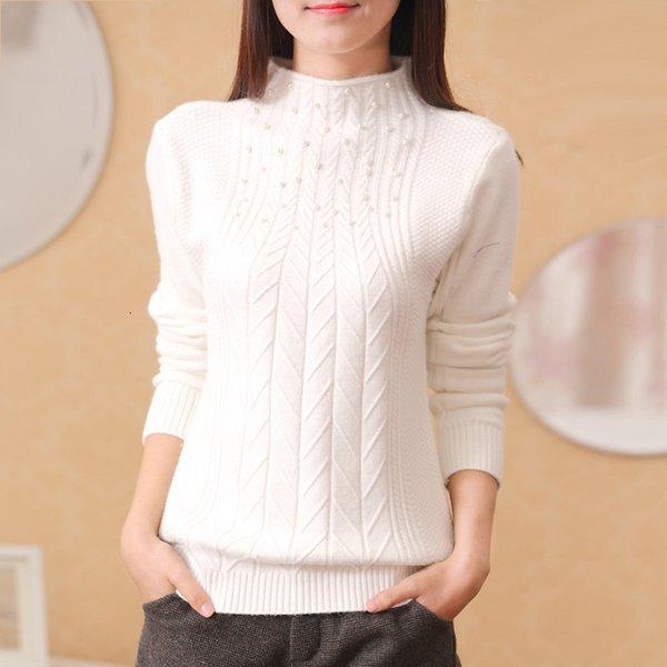 la venta del nuevo 2019 otoño-invierno de las mujeres del todo-fósforo delgado suéter de cuello alto suéter vestir exteriores de las mujeres T191021