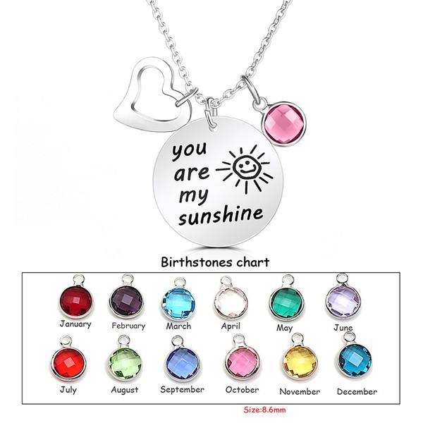 Letras gravadas de alta qualidade colar você é minha luz do sol birthstone pérola encantos pingentes colares de coração para as mulheres jóias diy