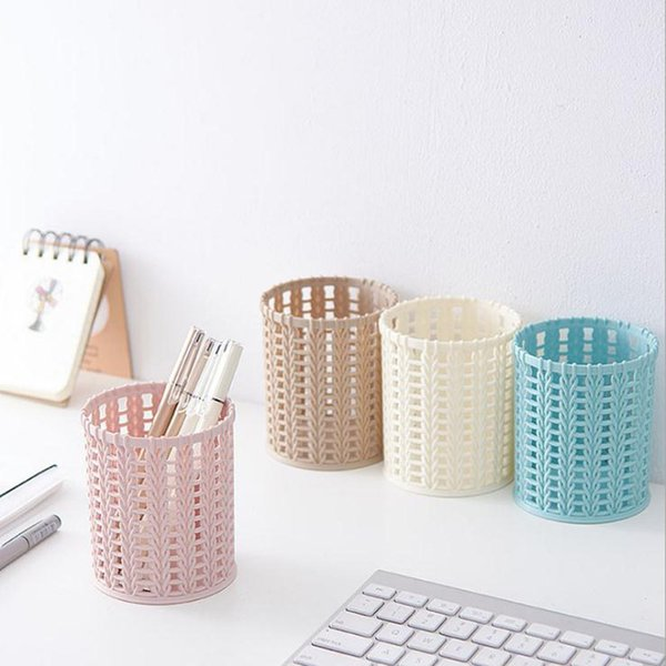 New Office Organizer Plastic Container Desktop Cylinder Hollow Pen Storage Box Pencil Brush Pot Pen Holder Makeup Brush Home hx0018